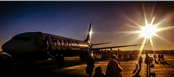 ryanair plane at an airport