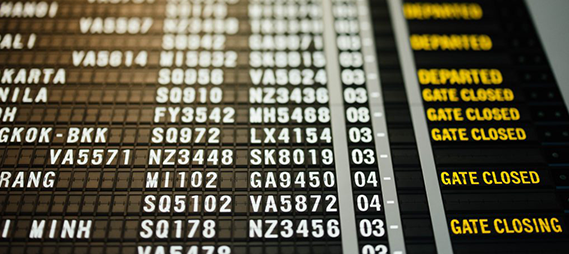 departure board at an airport