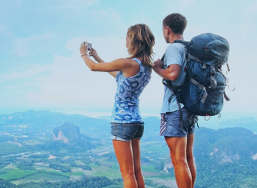 a couple backpacking